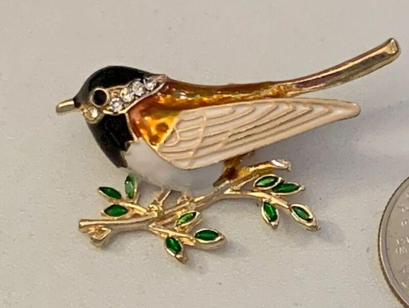 Bird Chickadee Vintage Gold Pin Brooch D-3216