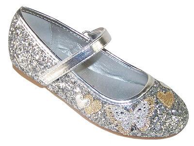 Mädchen Kinder Silber Glitzer Funkelnd Ballerina Flach Party Schuhe Anlass ()
