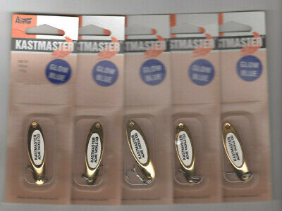 Lot of 5 NIB Acme Kastmaster Spoons 1/4 ounce all gold glow blue GREAT LURES!!