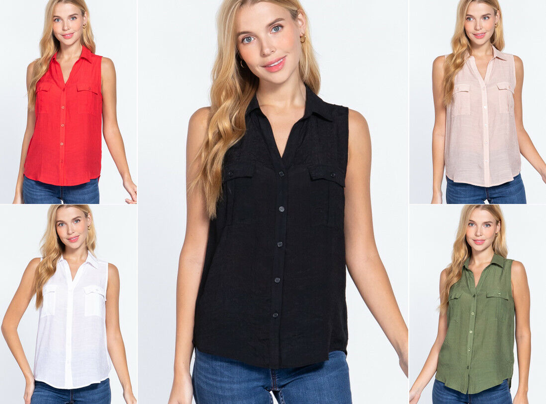 Women's Sleeveless Button Down Woven Shirt w/ Pockets Clothing, Shoes & Accessories