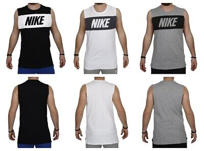 Nike Mens Vest Sleeveless Tank Top Retro Logo Sports Work out Gym Training S M L