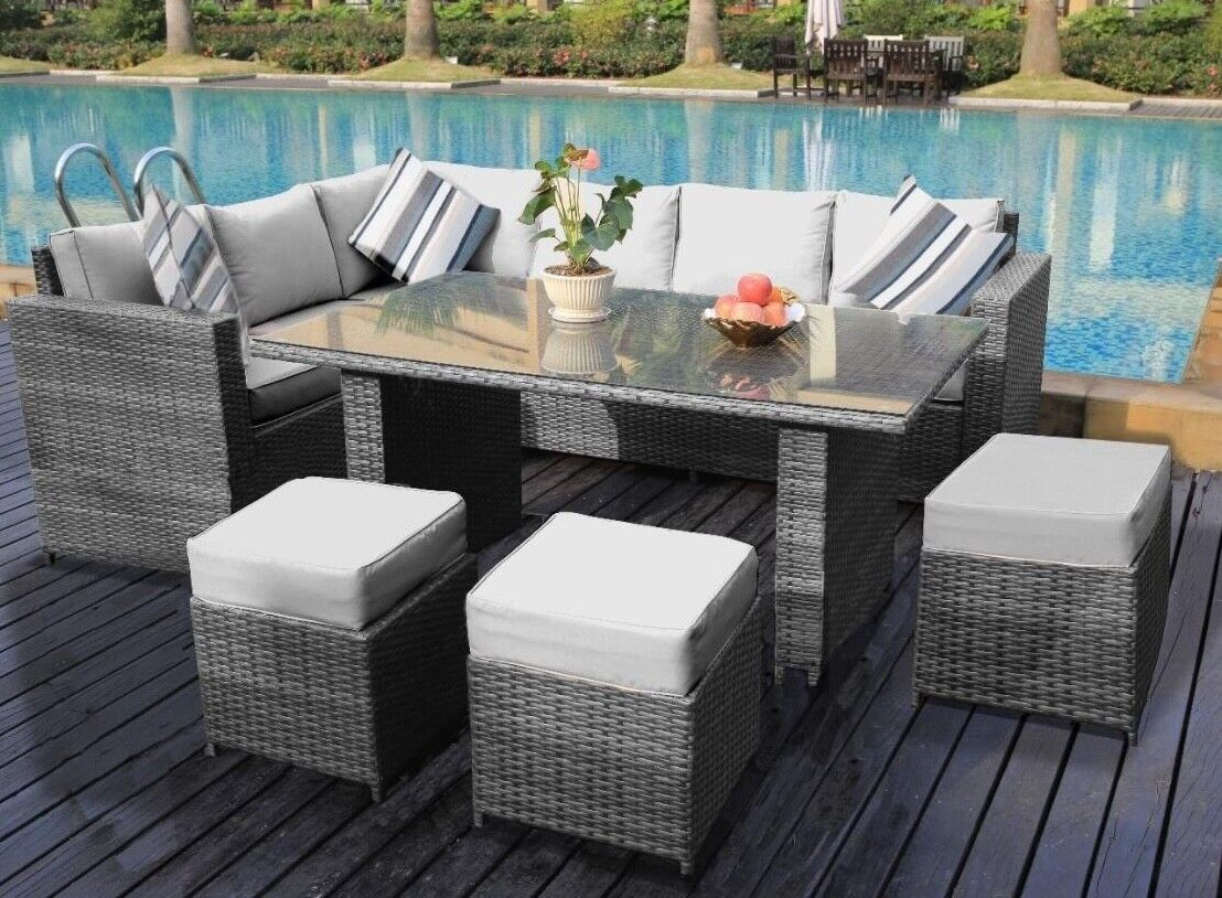 Garden Furniture - Conservatory Barcelona range Rattan garden furniture set 9 seater dining set