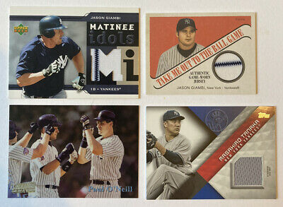 Yankees 9 Card Lot- Jersey, Bat, Insert, Serial numbered