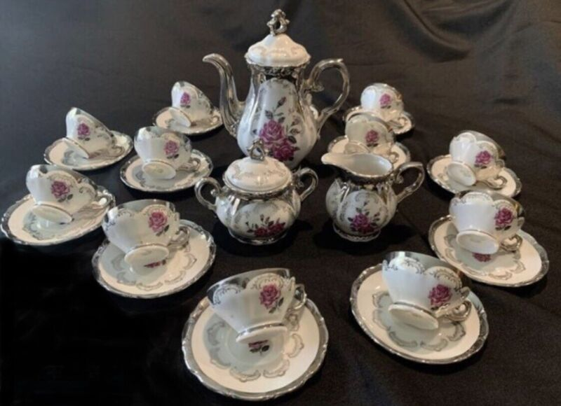 Bavaria China Demi Tasse Set from Germany w/ Pink Roses & Gold Trim 15 pieces