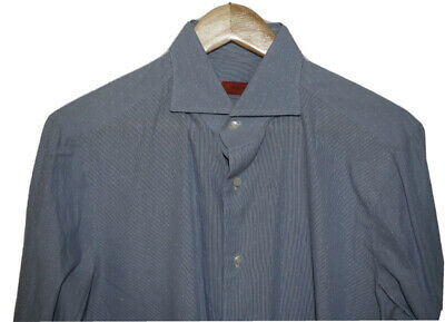 ISAIA Shirt (Large or 41) Light Blue w/White Polka Dots