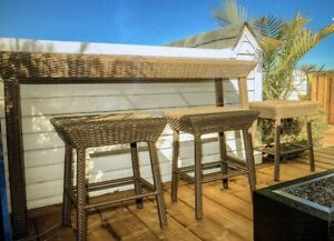 High table patio wicker - 4 stools