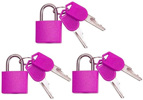 Small Mini Durable ABS Cover Solid Brass Body Individually Keyed Padlock 3pc Pnk