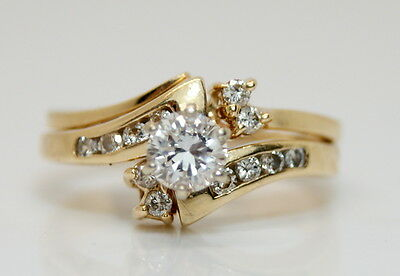 14K Yellow Gold 1/3 Ct TW Diamond Wedding Ring Set Size 5