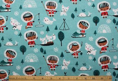 SNUGGLE FLANNEL *ESKIMO GIRL & ANIMAL FRIENDS on TEAL BLUE  100% Cotton*NEW* BTY - Eskimo Girl