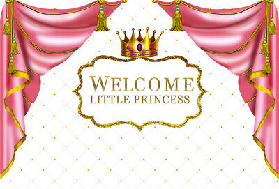 Pink Princess Baby Shower Backdrop Golden Crown Pink Curtain White Background   - Princess Background