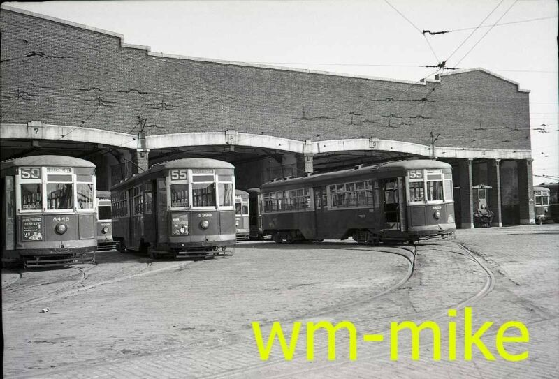 #A-940 - trolley - PTC Philadelphia Trans Co carbarn scene ORIGINAL B&W Negative