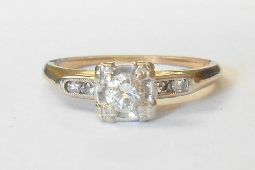 Early Vintage Diamond 14K Yellow Gold Engagement Ring Size 6.75 1/4 Carat