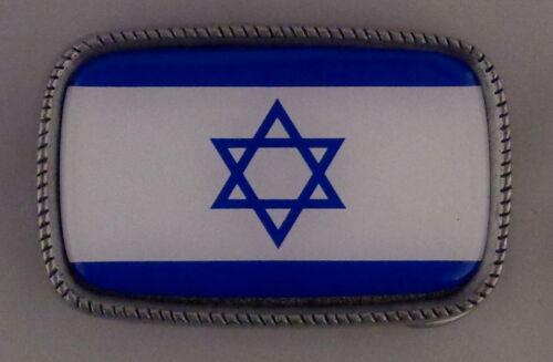 ISRAEL National FLAG Antique Silver Belt Buckle USA MADE Star of David