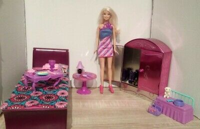 Barbie purple and pink bedroom play set with doll, furniture and accessories