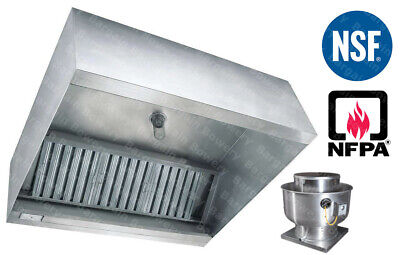 8 Ft Restaurant Commercial Kitchen Exhaust Hood With Captiveaire Fan 2000 Cfm