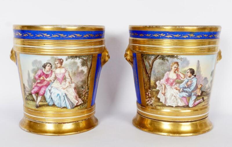 Pair French Sevres Style Porcelain Cache Pots, Antique Hand Painted Planters