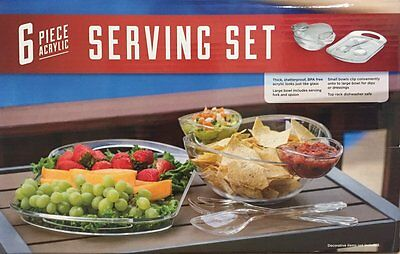 Acrylic Serving Set Chip and Dip Set Serving Tray Set 6Pc  ()