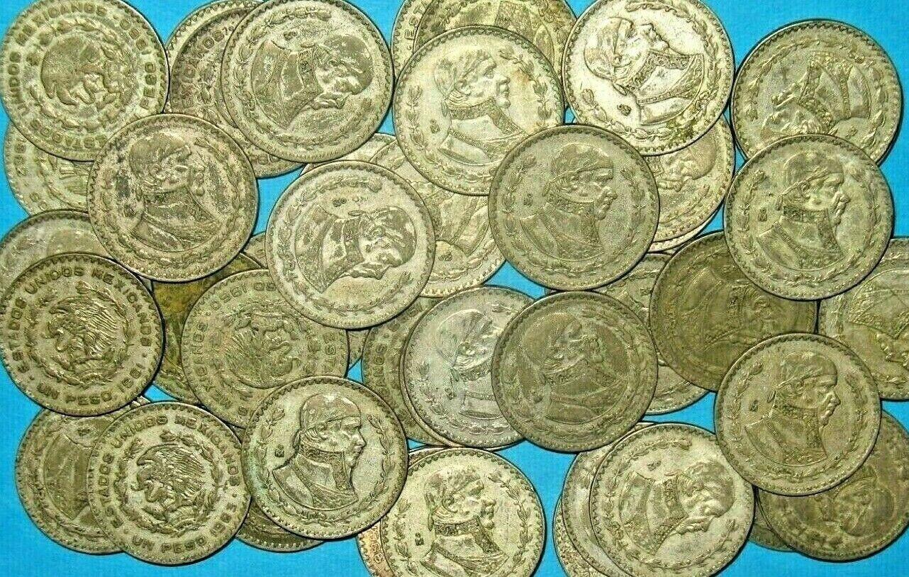 5 LARGE SILVER MEXICO UN PESO COINS  - $13.75