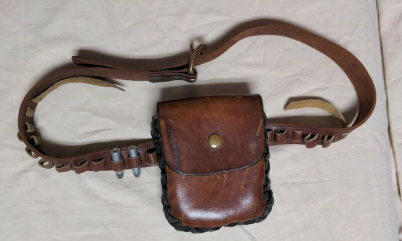 Vintage Handmade Leather Ammo Pouch and Belt for Pistol Rounds Very Mountain Man