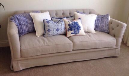 Linen Sofa - Hampton Style New Farm Brisbane North East Preview