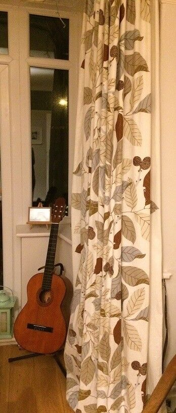 Ikea Leaf Print Pair Of Curtains Lined Measures 240cm