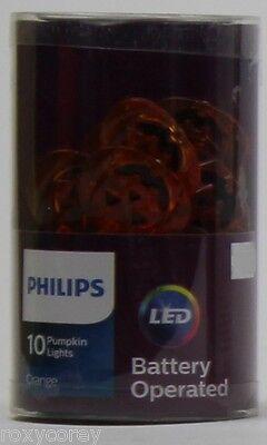Halloween Philips 10 Orange Battery Operated Pumpkins LED Lights NIP