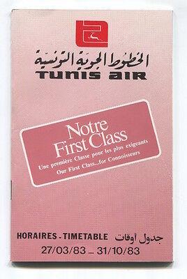 TUNIS AIR TIMETABLE SUMMER 1983