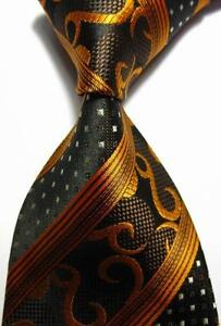 New Classic Stripes Gold Black JACQUARD WOVEN 100% Silk Men's Tie Necktie