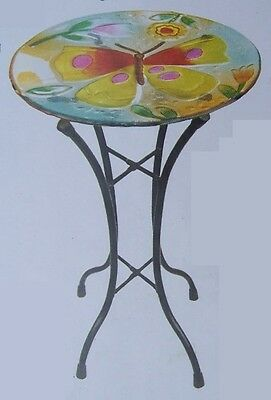 "Bird Feeder Bath Yellow Butterfly Glass with metal stand NEW 11 1/2"" in diameter"