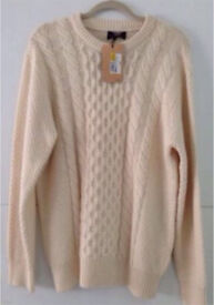 Men's Large M&S Heritage Wool Cable-knit Cream Jumper RRP £59.98 UNISEX BAGGY LOOK