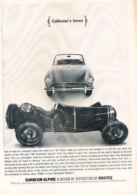 1963 Sunbeam Alpine Classic Vintage Advertisement Ad