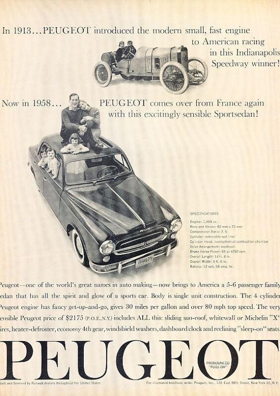 1958 Peugeot 403 - modern -  Classic Vintage Advertisement Ad A61-B