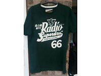 Two men's large Superdry t-shirts. Dark and light green.
