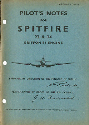 PILOT'S NOTES: SPITFIRE 22 & 24 RAF FIGHTER 46pps +FREE 2-10 PAGE INFO PACK