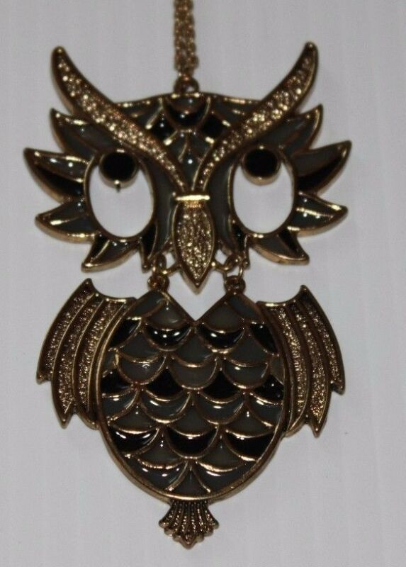 Owl Necklace vintage articulated dangling statement piece retro long chain