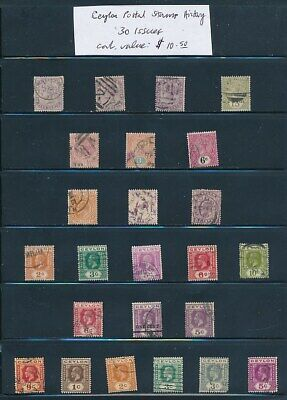 OWN PART OF CEYLON POSTAL STAMP HISTORY. 30 ISSUES CAT VALUE $10.50