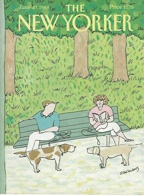 COVER ONLY ~ New Yorker magazine~ June 27 1988 ~  EHRENBERG ~ Dogs Park (Parks Benches Magazine)
