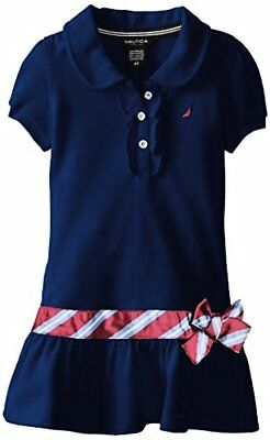 Nautica Childrens Apparel Little Girls Pique Polo Dress W/ Gold - Little Girls Gold Dress
