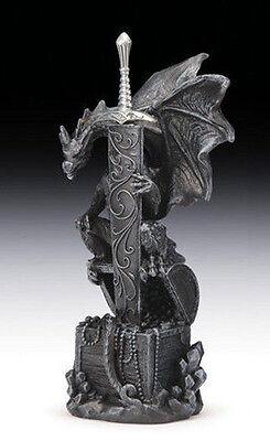 Winged Dragon Sword Protector on Treasure Chest Letter Opener Decor Figurine