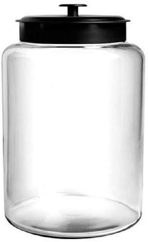 Anchor Hocking Montana Glass Jar with Fresh Sealed Lid, Blac