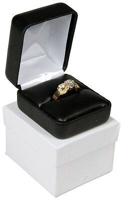 Black Faux Leather Ring Display Jewelry Gift Box 1 78 X 2 18 X 1 12h