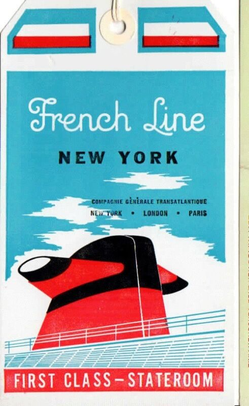 """Vintage CGT FRENCH LINE SS """"France"""" 1st Class Baggage Tag NOS"""