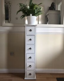 tall upcycled slim drawers plant or lamp stand
