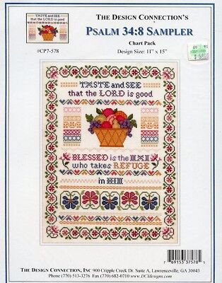 Psalm 34:8 Sampler Design Connection Cross Stitch Pattern NEW 30 Days to Pay!