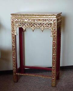 Indo Asian Giltwood Fretwork on Red Console / Hall Table
