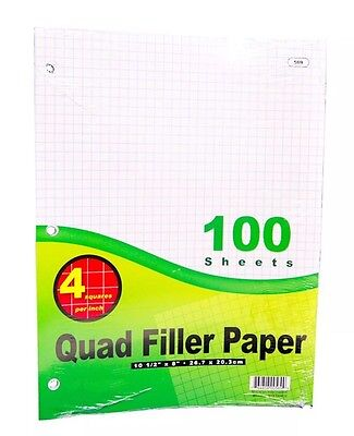 Quad-ruled Filler Paper 100 Sheets 10.5 X 8 4 Square Per Inch By Bazic 569