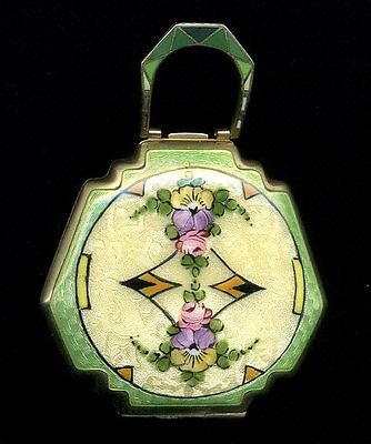 Gorgeous Art Deco Guilloche Enamel Compact with Pansies & Roses