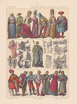 Franzosen Mode Trachten LITHOGRAPHIE von 1883 Mittelalter Ritter Frankreich