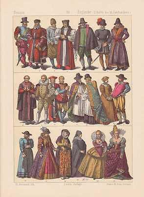 Engländer Mode Reformation LITHOGRAPHIE von 1883 England Kleidermode