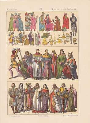 Spanier Spanien Mode Trachten LITHOGRAPHIE von 1883 Kleidermode Mittelalter